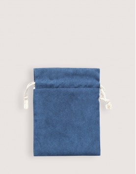 仿麂皮雙層絨布荷葉邊束口袋│深藍色│包裝袋│禮物袋