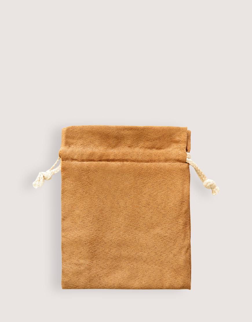 仿麂皮雙層絨布荷葉邊束口袋│淺咖啡色│包裝袋│禮物袋
