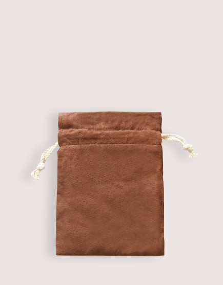 仿麂皮雙層絨布荷葉邊束口袋│深咖啡色│包裝袋│禮物袋