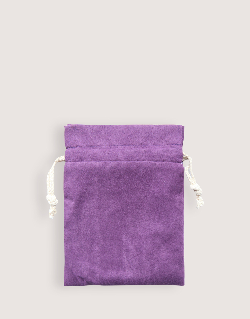 仿麂皮雙層絨布荷葉邊束口袋│紫色│包裝袋│禮物袋
