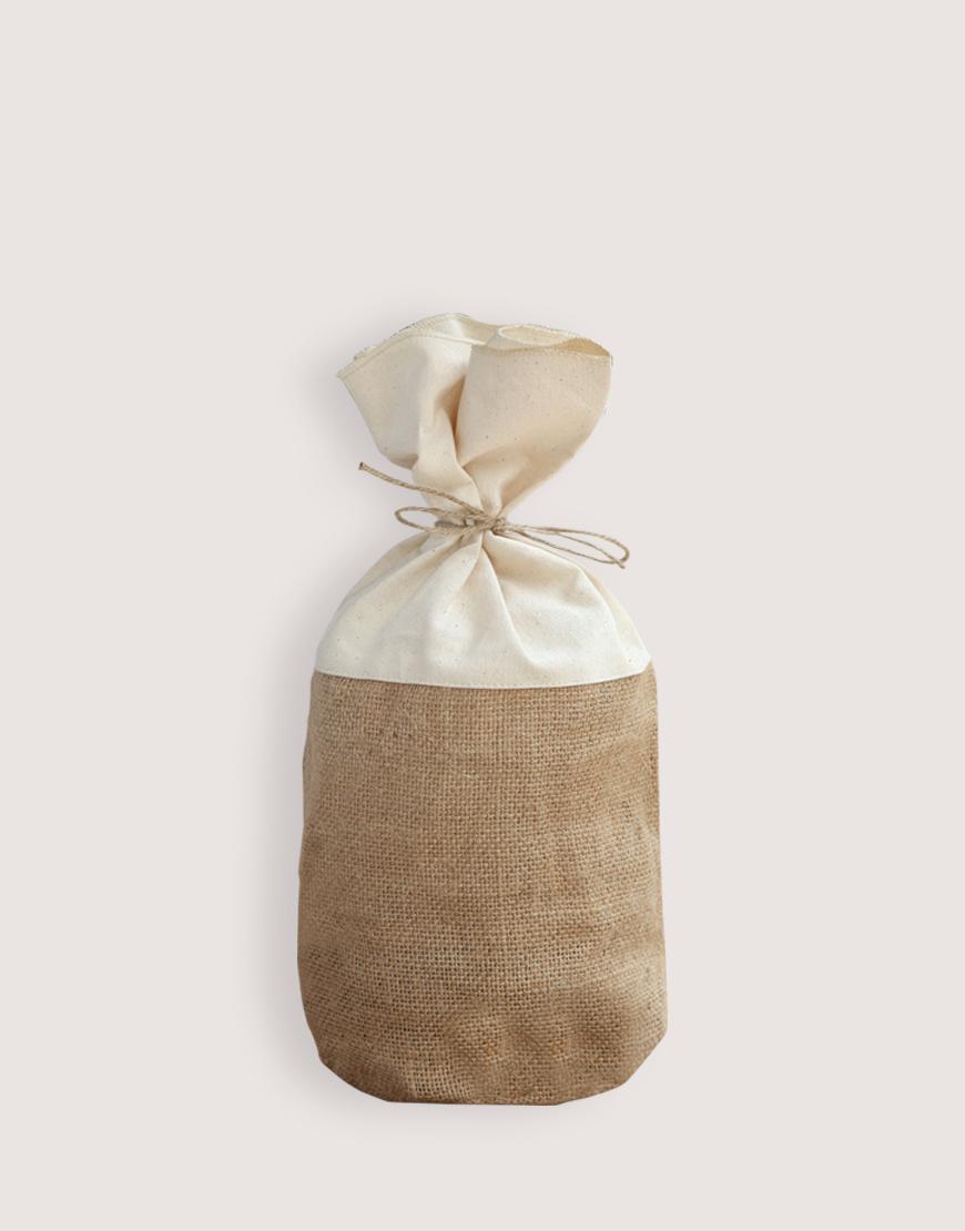 圓底棉布黃麻束口袋-M