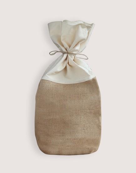 圓底棉布黃麻束口袋L