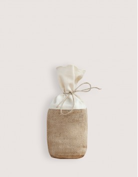 圓底棉布黃麻束口袋-S |起訂量20個|