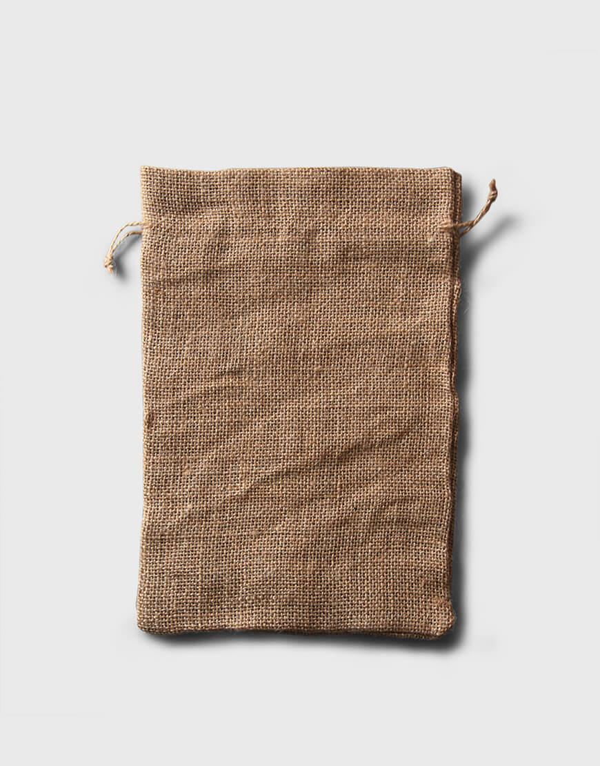 黃粗麻布束口袋 - 大