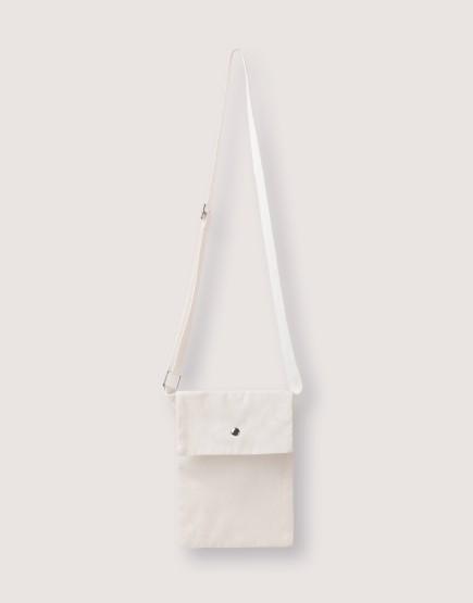 輕帆直式斜背有蓋小包 白/綠