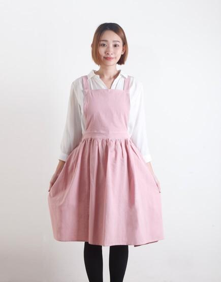 客製圍裙印圖 水洗棉麻百摺裙款圍裙 三色