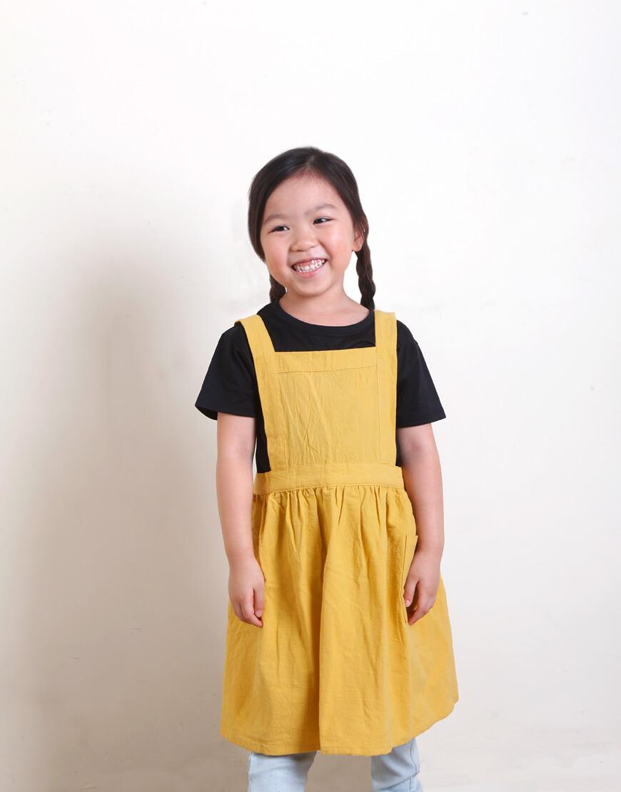 客製圍裙印圖   兒童款 水洗棉麻百摺裙款圍裙 M 雙色