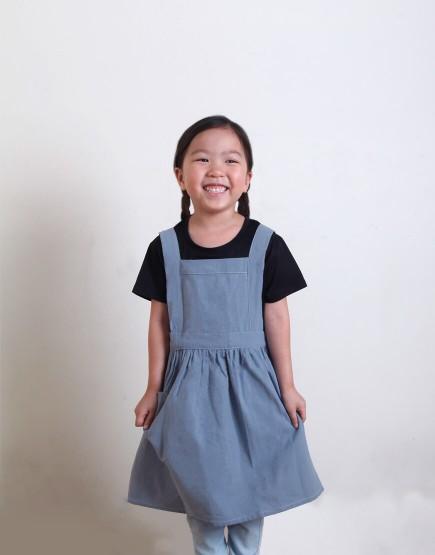 客製圍裙印圖    兒童款 水洗棉麻百摺裙款圍裙 S 四色