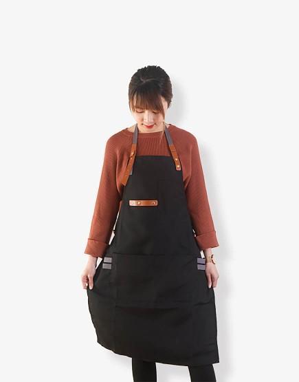 客製圍裙印圖 滌帆繞頸織帶皮件圍裙 黑色