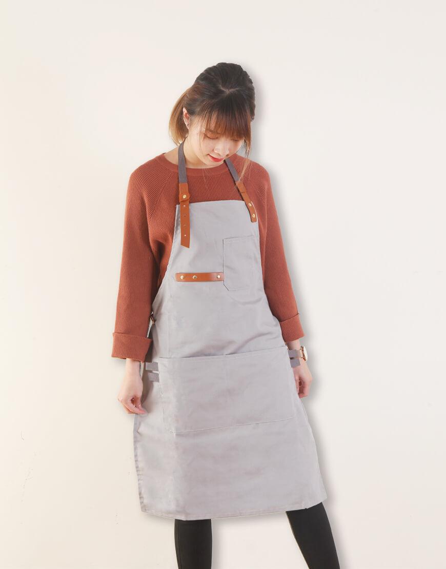 客製圍裙印圖 滌帆繞頸織帶皮件圍裙 灰色