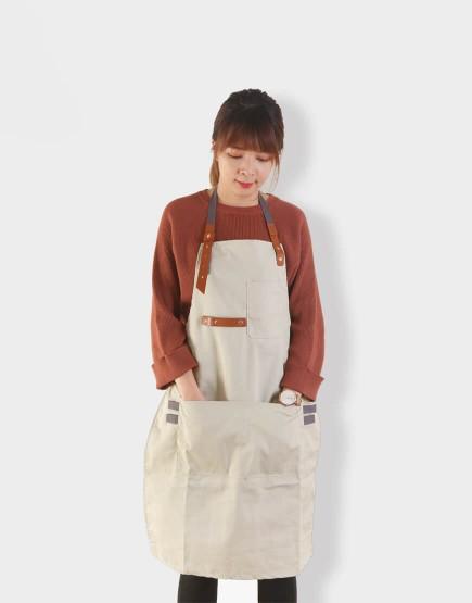 客製圍裙印圖 滌帆繞頸織帶皮件圍裙 卡其色