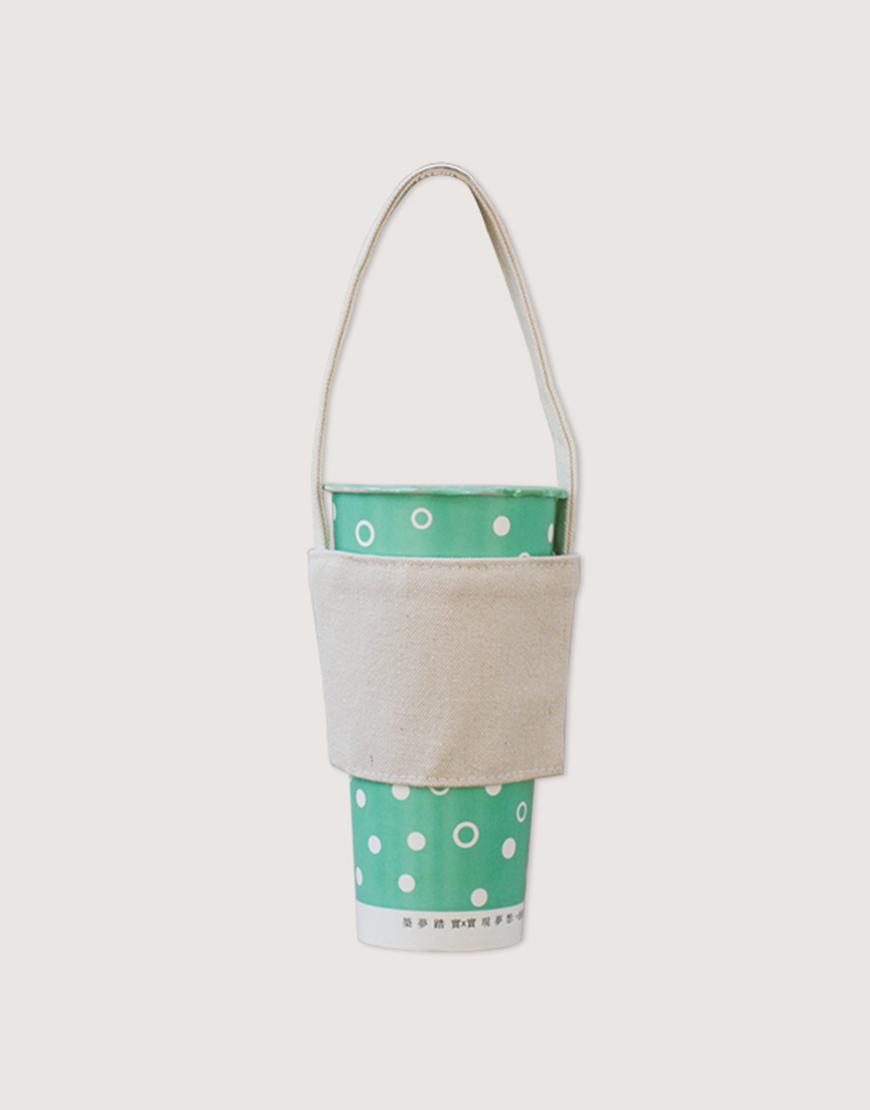 12N雙層帆布飲料提袋 - 米白色