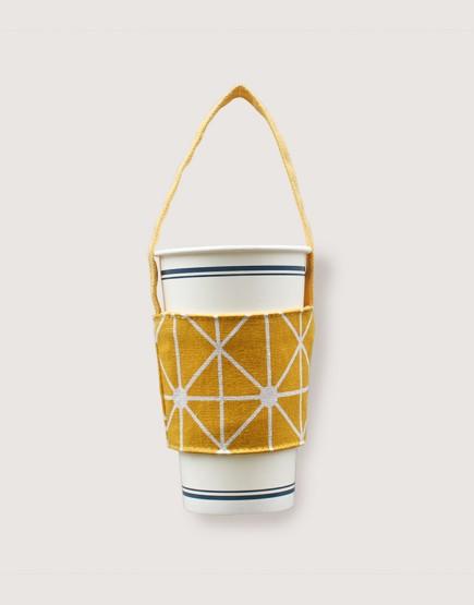 飲料提袋 | 12N雙層帆布 | 黃幾何