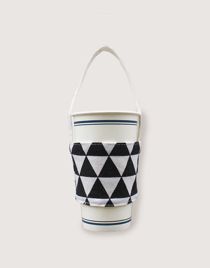 飲料提袋 | 12N雙層帆布 | 三角黑