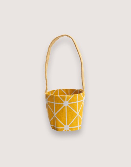 飲料提袋 | 12N雙層帆布 | 黃幾何 | 雙面印花