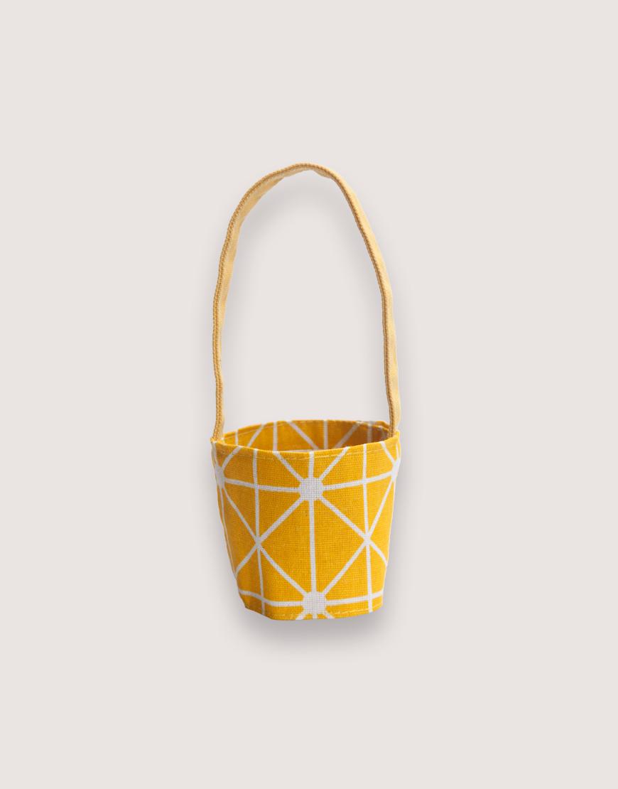 飲料提袋   12N雙層帆布   黃幾何   雙面印花