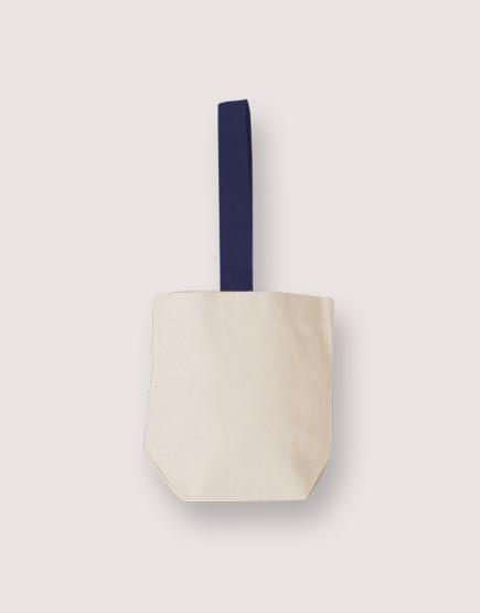 米色帆布飲料小提袋  | 藍色提帶