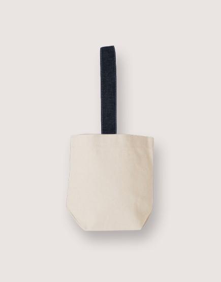 米色帆布飲料小提袋  | 牛仔藍色提帶
