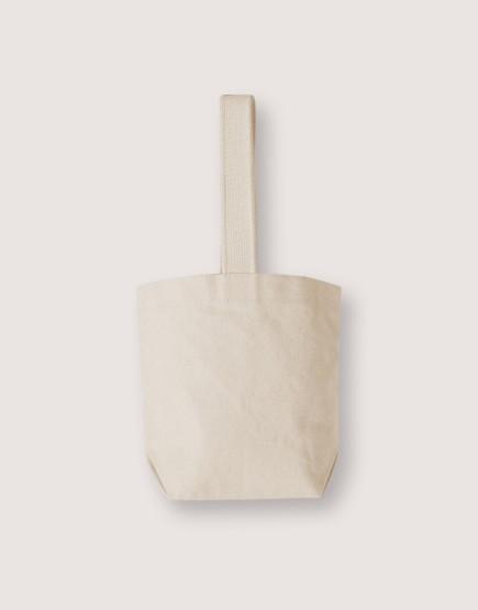 米色帆布飲料小提袋 | 米色織帶