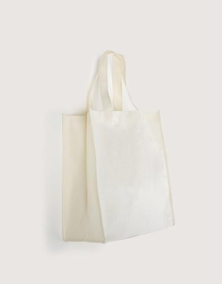 不織布│直式立體袋│寬底側 │米白