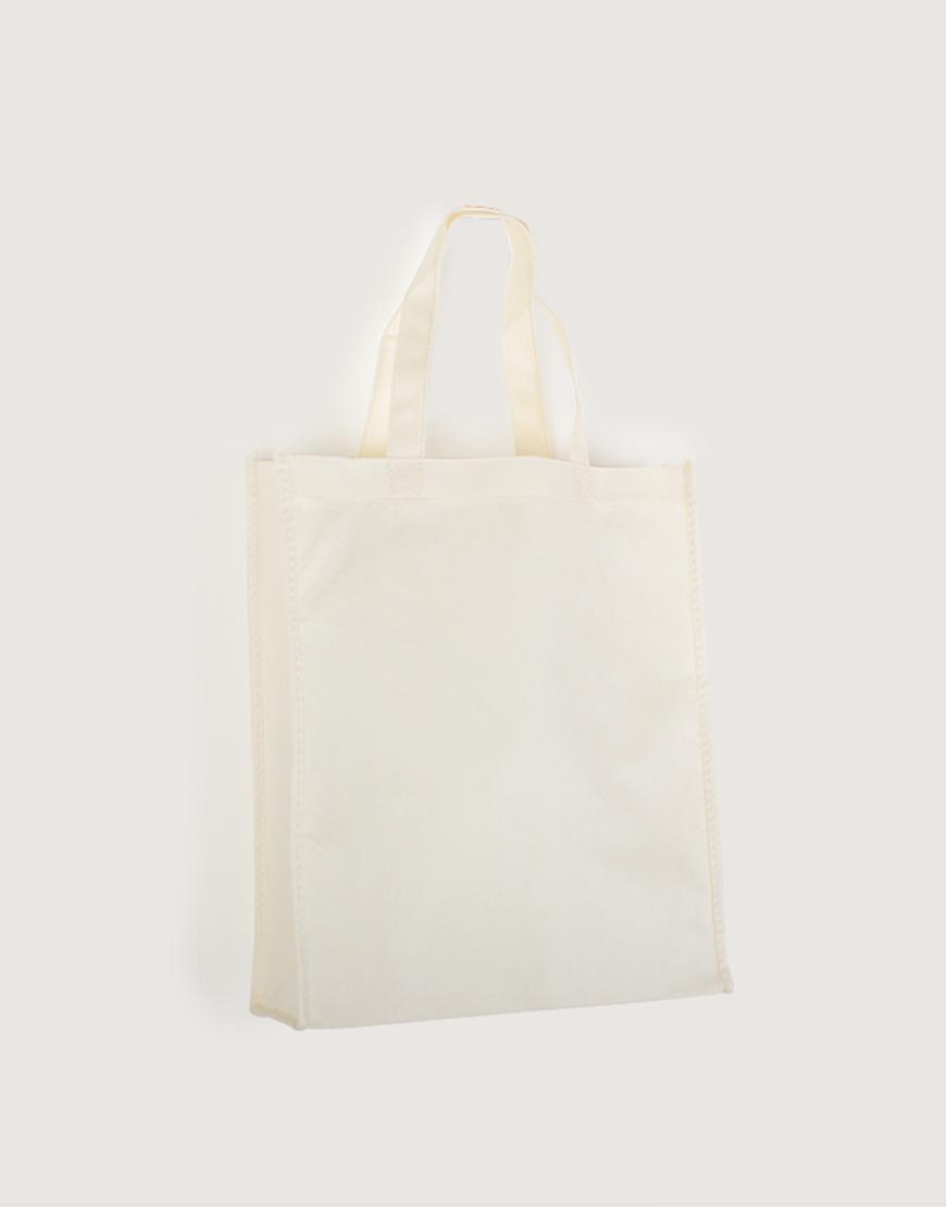 不織布│直式立體袋│米白