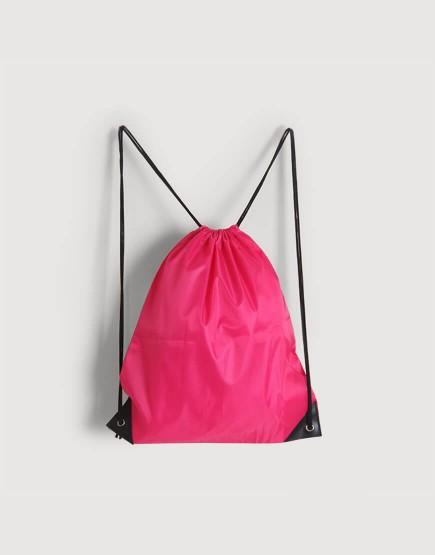 尼龍布210D-桃紅色│束口後背包│束口袋