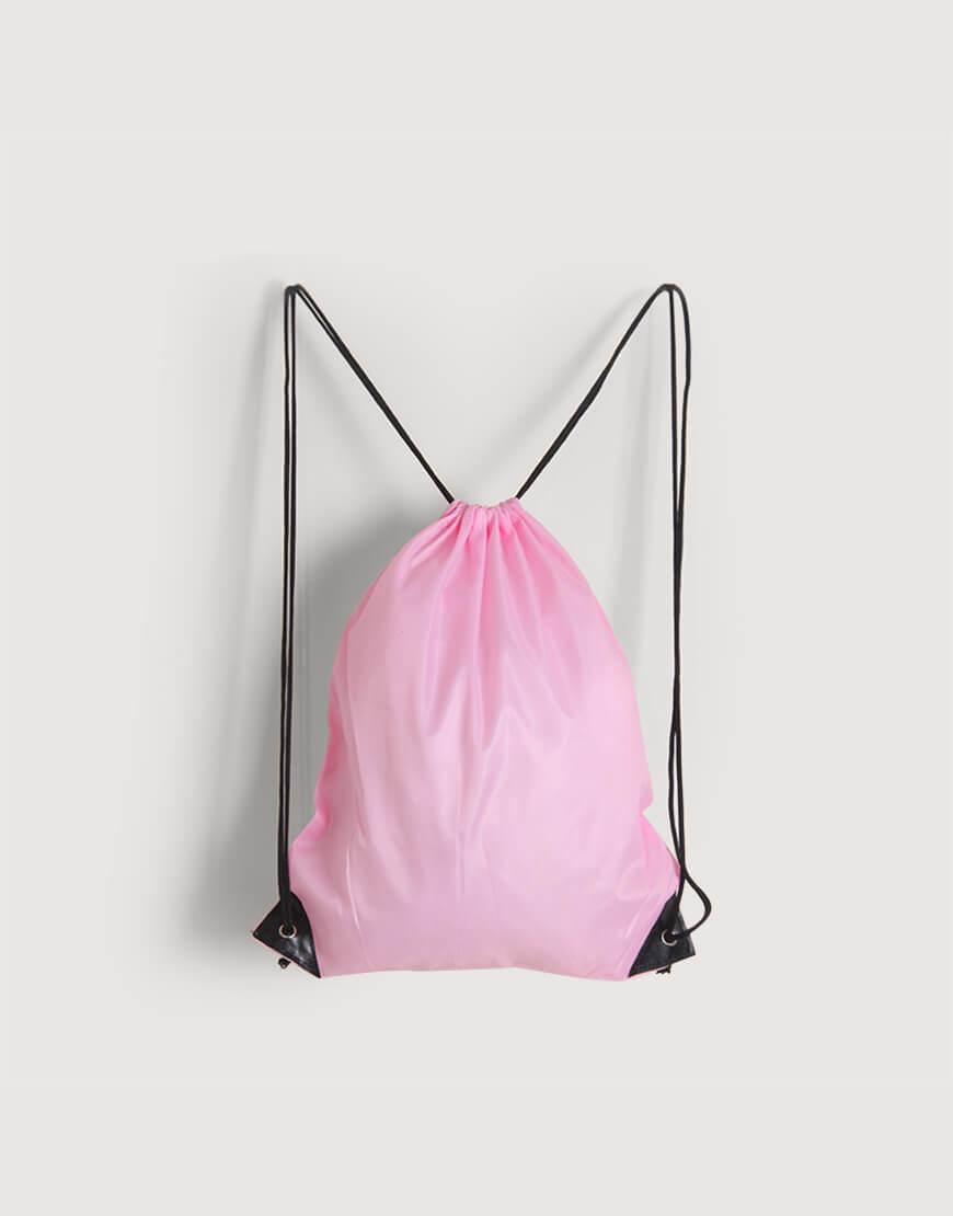 尼龍布210D-粉紅色│束口後背包│束口袋