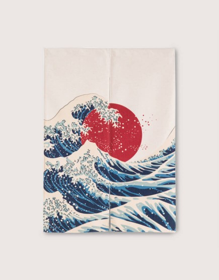 現成門簾 | 日式-浪花紅日 | 布簾