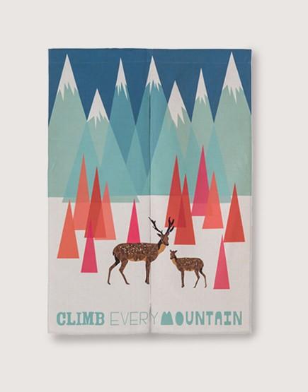 預購門簾 | 雪山上的親子鹿 | 布簾