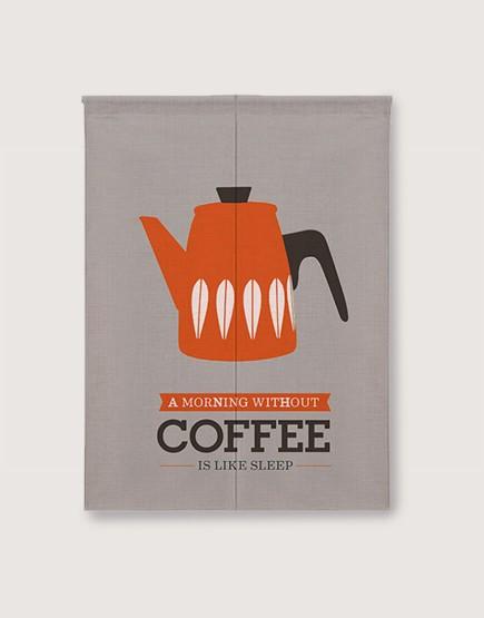 預購門簾 | 橘色咖啡壺 | 布簾