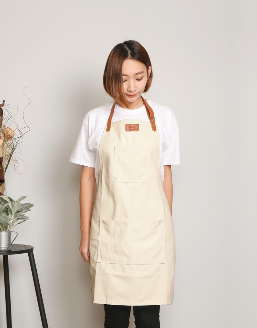 客製圍裙印製 | 牛仔圍裙人工皮 | 繞頸式 | 米色