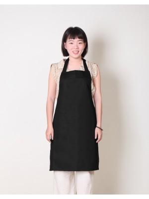 純棉單一口袋繞頸式圍裙 - 黑色