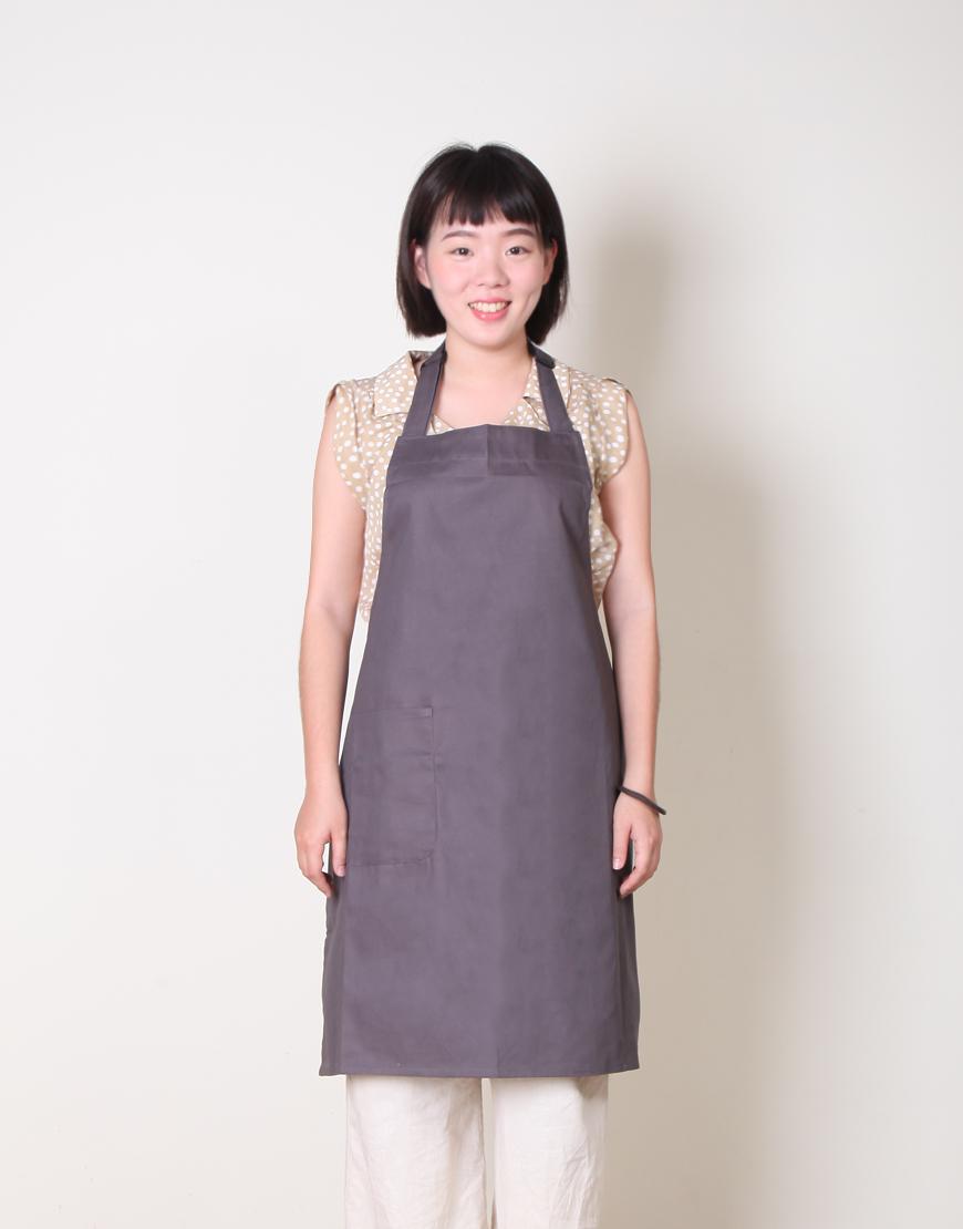 客製圍裙印製 | 純棉單一口袋 | 繞頸式 | 灰色
