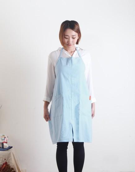 客製圍裙印圖  水洗棉麻簡約款圍裙 煙藍