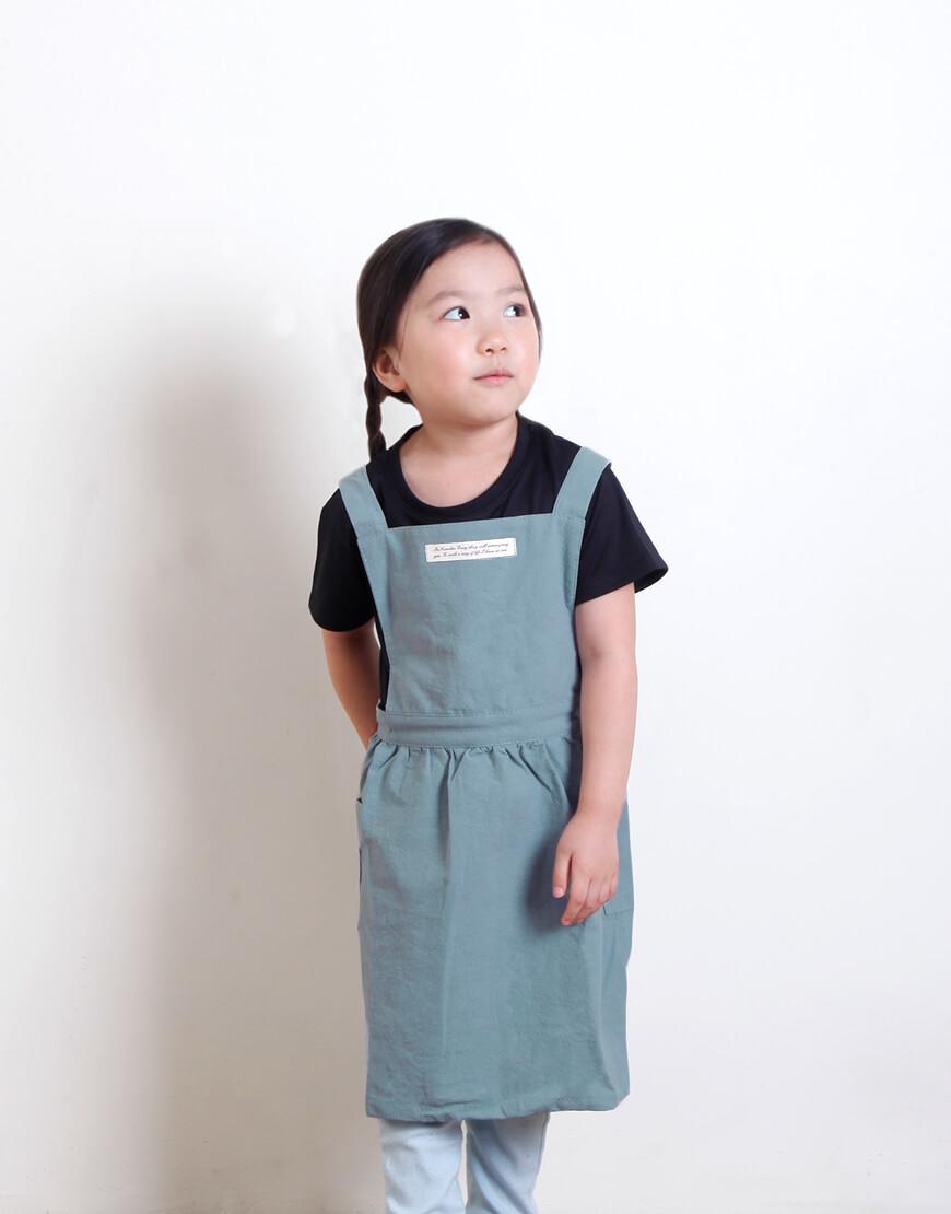 I 兒童款 I 水洗棉百摺裙款圍裙 - 淺綠色