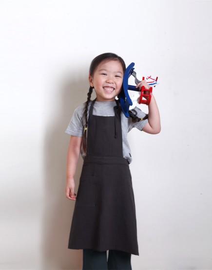 客製圍裙印圖    兒童款 水洗棉麻中性款圍裙 深灰色