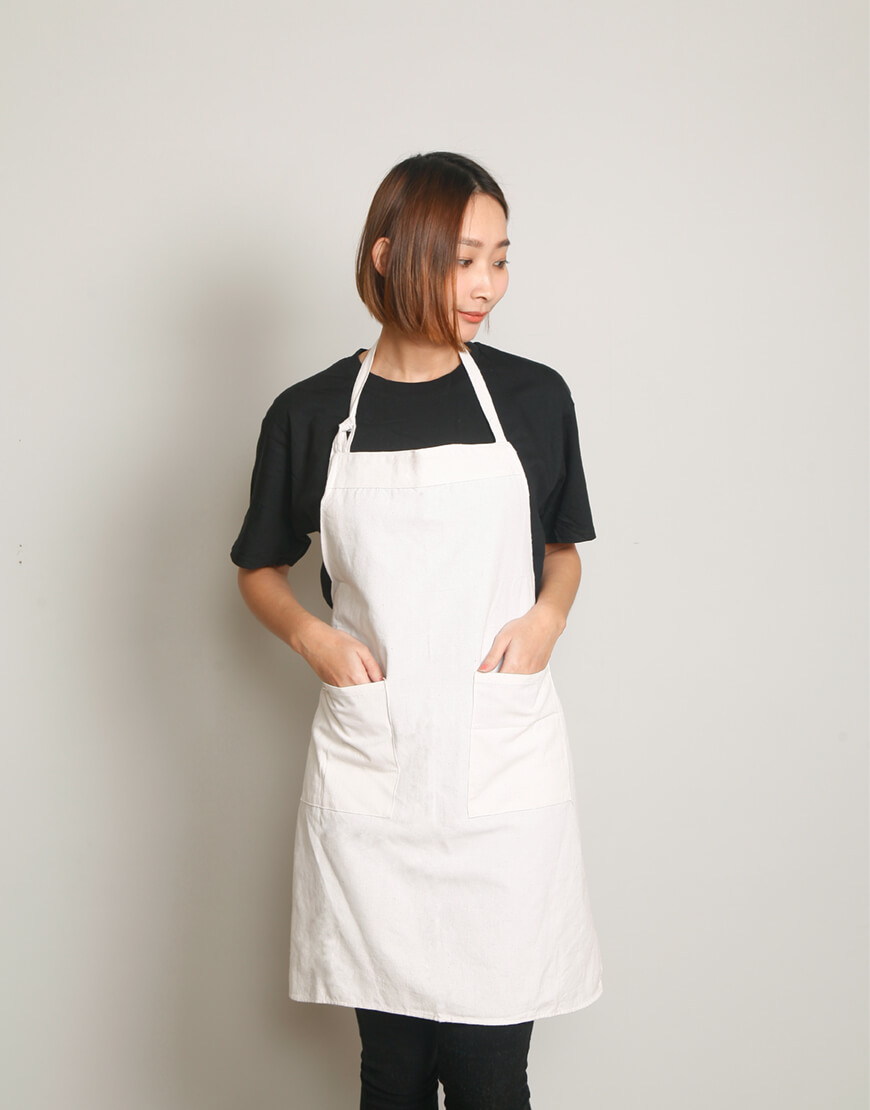 客製圍裙印製 | 麻帆布兩口袋 | 繞頸式 | S