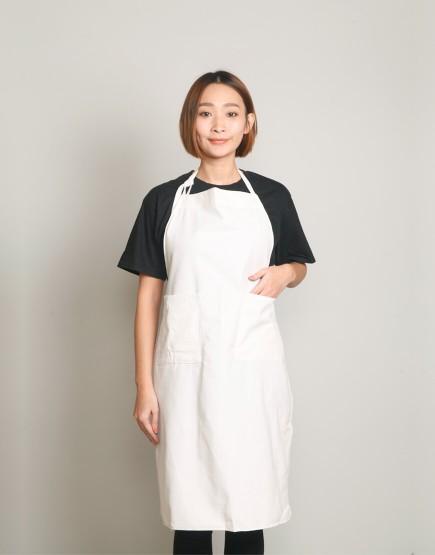 棉麻帆布兩口袋繞頸式圍裙 - L