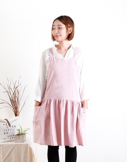 客製圍裙印圖  水洗棉麻背心式款圍裙 五色