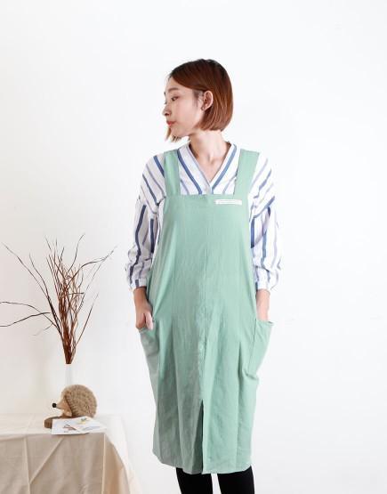 客製圍裙印圖  棉麻家居款寬肩帶圍裙 雙口袋 六色