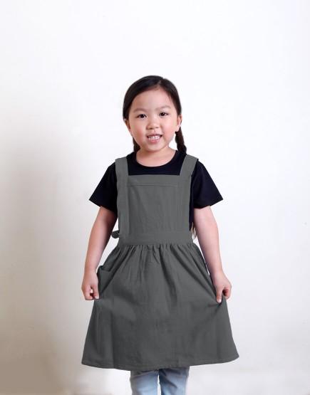 客製圍裙印圖   兒童款 水洗棉麻百摺圍裙 M 雙色