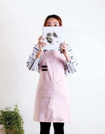 水洗棉麻PU可調帶圍裙 - 粉色