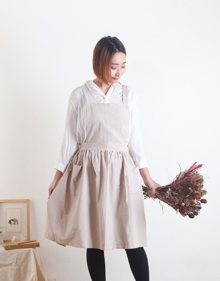 客製圍裙印圖  水洗棉麻百摺裙款圍裙 雙口袋 三色