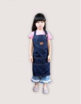 客製圍裙印製   小孩   牛仔布繞頸可調式圍裙-口袋款