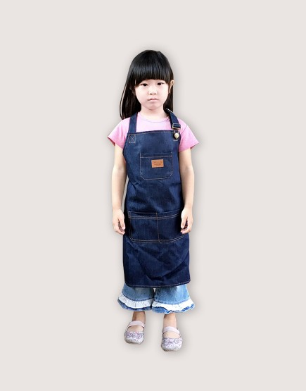 客製圍裙印製 | 小孩 | 牛仔布繞頸可調式圍裙-口袋款
