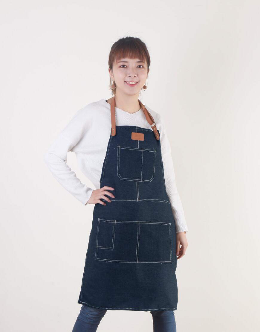客製圍裙印製 | 牛仔圍裙人工皮 | 繞頸式 | 深藍色