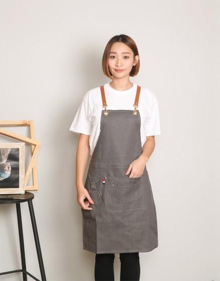 客製圍裙印製 牛仔圍裙吊環皮件圍裙 冰灰