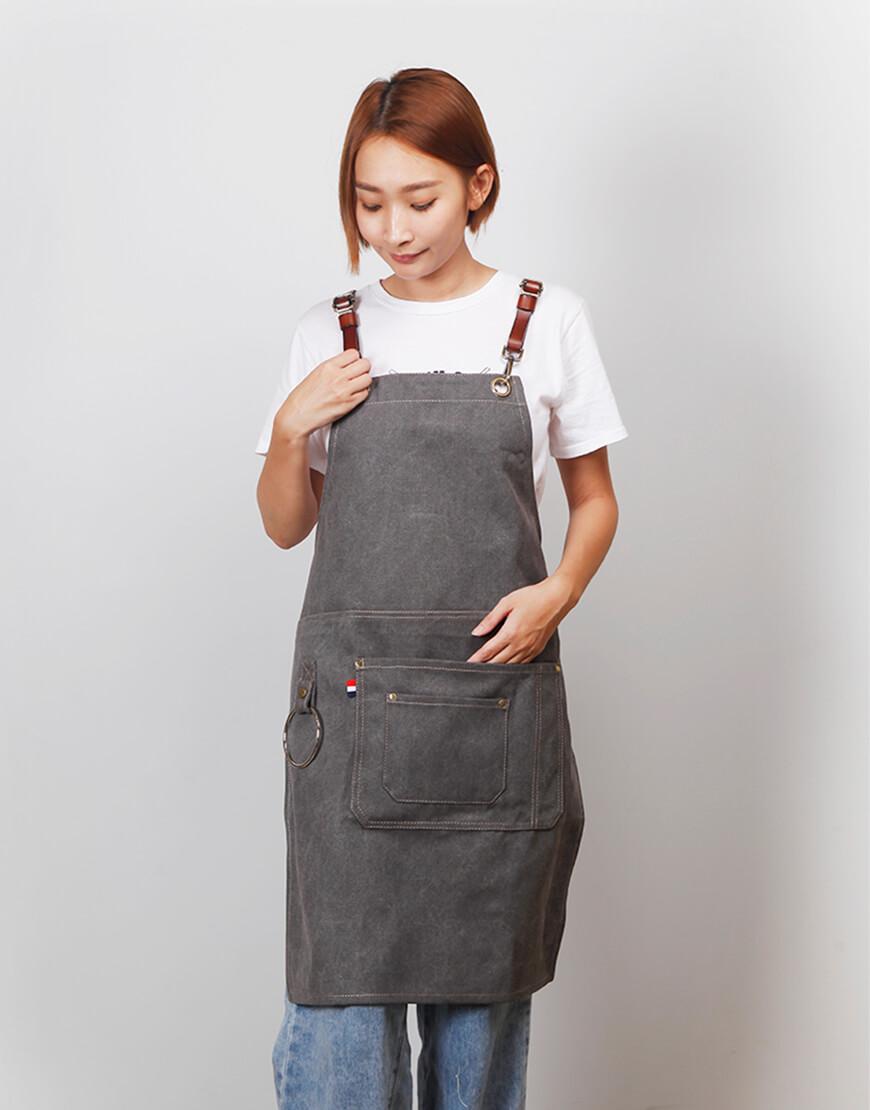 牛仔圍裙吊環皮件圍裙 - 3色