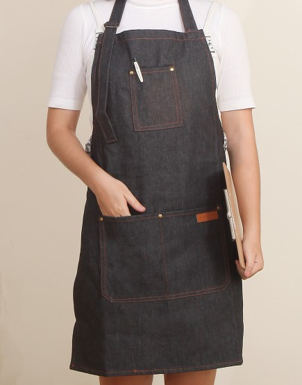 客製圍裙印製 | 加厚黑色牛仔圍裙繞頸+扣