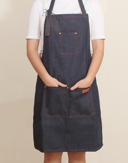 客製圍裙印製 | 加厚深藍牛仔圍裙繞頸+扣